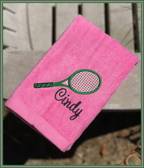 Tennis Towel Embroidered Sweat Towel With Racket