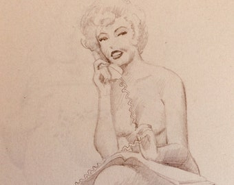 Ted WITHERS of Hollywood 50s MARILYN styled pinup on Phone Original Pin-Up Rare Drawing Blonde, Hat Stockings legs Nude associate of Elvgren