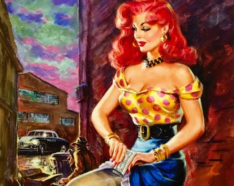 Sale Large 20x24 Canvas DAMES of Noir PULP Art pinup Detective FBI Gangster Illustration Art Deco action Film Noir Movies G-Man Pin-up