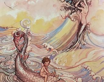 WHERE MERMAIDS COME #2 11x15 Fantasy Nouveau Glamour Pin-Up Cupid Deco Mermaid Revivalist Cosmopolitan Illustrator Muralist 1800s 20s Pinup
