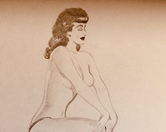Ted WITHERS of Hollywood 50s BETTIE PAGE Rare Original Pin-Up Drawing 2 sided Brunette legs Beauty Pinup Brunette Nude associate of Elvgren