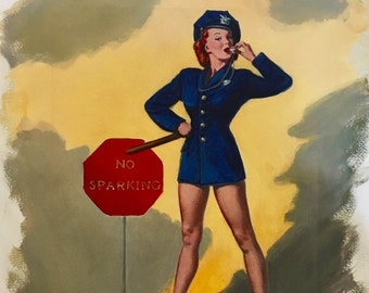SUPER Sale 80% Off! ELVGREN No Parking Sparking Original Painting 16X20 Rare Pinup Vancas of POLICE Woman Cop Pin-up exposes Legs High Heels
