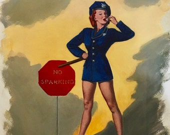 Sale Large 12x18 NO PARKING No Sparking by ELVGREN Pin-Up  High Heel Lingerie legs pinup Cop Police Woman Swing Dance Midcentury 1940s 50s