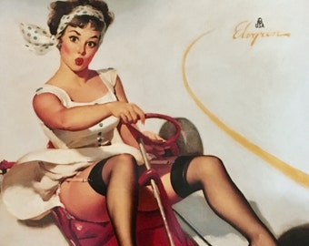 Large 12x16 CURVING AROUND by Elvgren UpSkirt Pin-Up Playing Lingerie Nylons Stockings pinup -Vintage, Deco, Swing Modern Midcentury