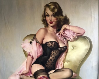 150,000 USD Original 53 ELVGREN LOLA Sitting Pretty PinUp Lingerie Stockings Corset Painting Rare Famous Pin-Up 1st Time Offered