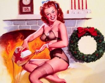 Elvgren SANTA'S SURPRISE STOCKING - Christmas  Pin-Up in sheer see through lingerie, bra panties, garter-belt and nylons stockings Pinup