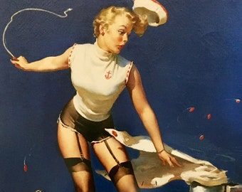 Hurry Last One- Large 12x16  FAST TAKEOFF Elvgren Sailor Girl UpSkirt Pin-Up Lingerie Nylons Stockings pinup Vintage, Deco Modern Midcentury
