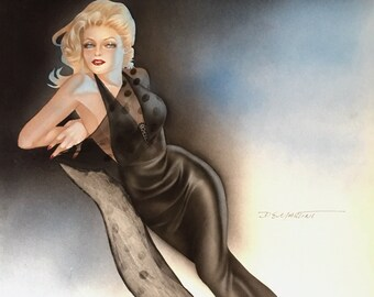 SALE DEMARTINI Mid Century 60s Pin-Up Original Blonde in Vintage Sheer black wiggle dress gown Burlesque Painting Vargas pinup Great Value