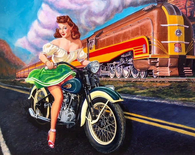 Featured listing image: Original Painting 40x30 HARLEY DAVIDSON pinup 1930s Knucklehead MOTORCYCLE by Daniel Vancas Art Deco Streamline Train Union Pacific Pin-Up