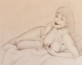 WITHERS of HOLLYWOOD 50s Original Pin-Up Drawing Brunette rare DD large breast legs Beauty Pinup Brunette Nude on Bed associate of Elvgren