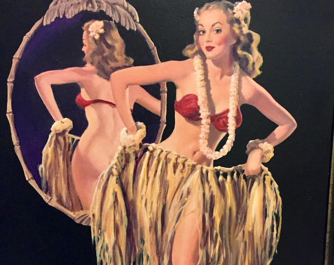 Featured listing image: Estate Sale! Gil ELVGREN DRAWING STRAWS Original Painting Hula Hawaiian Island Girl Pin-Up TiKi Grass Skirt Nude MidCentury Pinup by Vancas