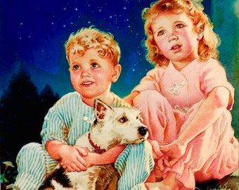 Canvas Giclee 20x24 BEDTIME STORY by HUNTER Little Girl and Boy with Puppy Dog Deco Children's Illustrator 1940s Pin-up Childs Room Nursery