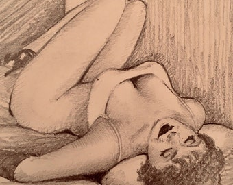 TED WITHERS of HOLLYWOOD 1950s Original Pin-Up Drawing Brunette legs Beauty Pinup Brunette Nude on Bed