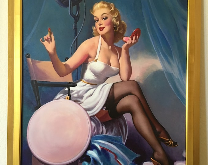 Featured listing image: Estate Sale! ELVGREN ALL SET Original Painting Model Autograph Pinup Movie Actress Rare Pinup Vancas UpSkirt Pin-Up Exposes Nylons Stockings