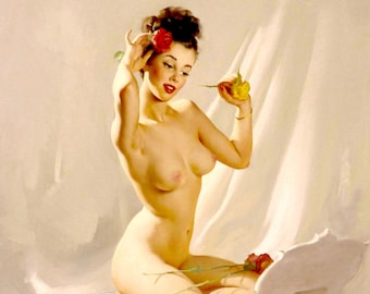 Gil Elvgren PERFECTION 2 (c) Original NUDE Painting Pin-Up Brunette Roses Legs pinup Daniel Vancas Only AUTHORIZED Recreationist since 1993