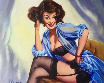 Sale Canvas Gil ELVGREN WELL SEATED Flirting Pinup in see through lingerie, negligee, stockings, black garters panties bra Vancas Vanguard