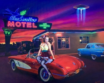 11X8 Paper MYSTERIOUS RENDEZVOUS Pin-Up By Daniel Vancas UFO at Blue Swallow Motel, 1950s Corvette, Thunderbird, Hudson Pinup like Elvgren