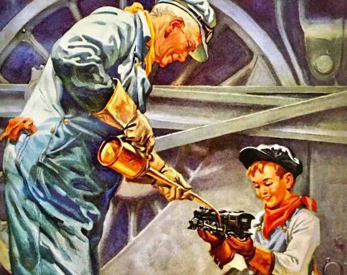 Featured listing image: RAILROAD STORIES Sale ORIGINAL Painting  20x24 Canvas Illustration Art Deco Steam Hudson Railroad Transportation Trains Lionel Model Hudson