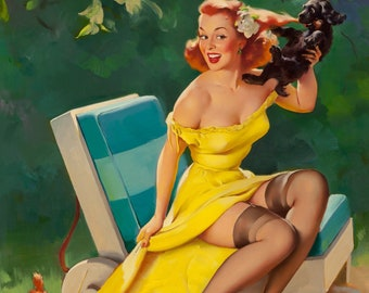Gil Elvgren TOO MUCH to Handle Original Painting Pin-Up Redhead Puppies Up Skirt Legs Full Fashioned Stockings pinup garters Daniel Vancas
