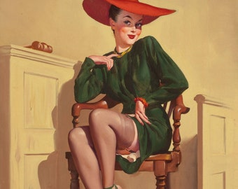 Gil Elvgren DECISION WOW Original Painting Pin-Up Attorney Witness Up Skirt Legs Full Fashioned Stockings pinup garters panty Daniel Vancas