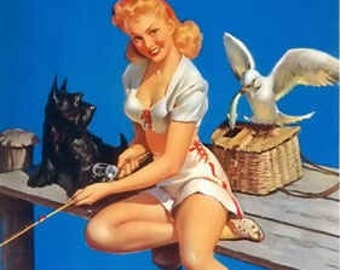 Elvgren - Catch On  - Pinup print 8X11 Pin-Up Scotty Dog goes Fishing Pinup
