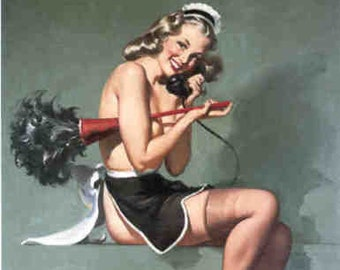 Gil Elvgren BRUSH OFF Original Painting Pin-Up Blonde French Maid UpSkirt Legs Full Fashioned Stockings pinup garters panty Daniel Vancas