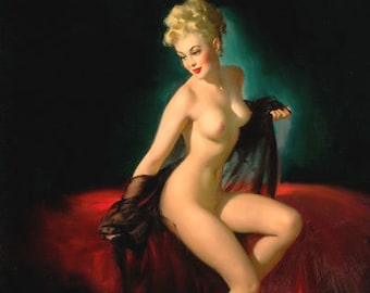 CART SALE Gil Elvgren - UNVEILING 40s Glamour PinUp Nude Calendar art Negligee Lingerie 1940's Pin-Up Limited Edition Vanguard Gallery 12x18