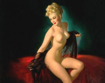 Gil Elvgren UNVEILING Original NUDE Painting Pin-Up Blonde See Through Sheer Negligee Legs pinup Daniel Vancas Only AUTHORIZED Recreationist