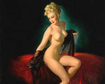 SALE Gil ELVGREN UNVEILING 20x24 Canvas Giclee 40s Glamour Nude pinup with black see-through negligee Vintage Pin-Up Vancas Vanguard Gallery