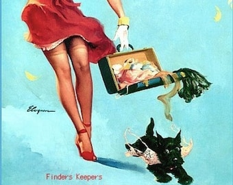 ELVGREN - FINDERS KEEPERS - 8x11 Scotty Dog Puppy Signed Pinup Upskirt stockings garters Pin-Up Midcentury