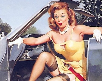 SALE . ELVGREN  HOTROD - G.M. Chevy Pinup, UpkSkirt, Nylons Stockings Garters Pin-Up Hard to find!