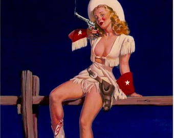 Sale Elvgren . AIMING TO PLEASE  Cowboy pinup Colt Peacemaker pin-up Cowgirl  Texas boots LArge Canvas