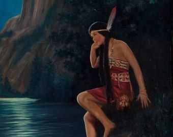 20X26 Canvas STILL WATERS American Indian Maiden Maid Art Deco calendar Pinup Canvas Giclee Modern early 20th century pin-up Craftsman Homes