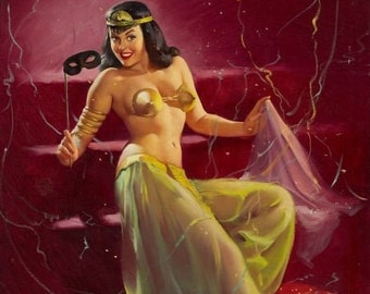 Gil Elvgren Do You Recognize Me  Original Painting Pin-Up BETTIE PAGE Harem Costume for Carnival with mask, Legs heels, pinup  Daniel Vancas