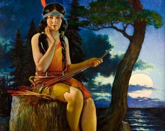 20x26 Canvas MOON-GLOW by Nelson American INDIAN Maiden Maid Art Deco calendar Pinup Canvas Giclee Modern 20th century pin-up Craftsman Home