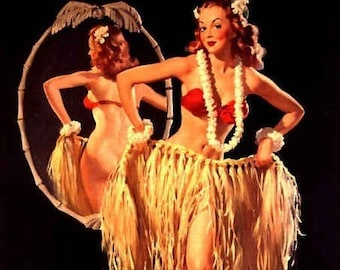 ELVGREN - DRAWING SRTAWS - Hula Pin-Up Hawwiian Retro Island Girl Tiki Bar pinups