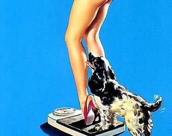 ELVGREN - SUPRISING DISCOVERY Nude Pinup with Cocker Spaniel Puppy Dog Scale bathroom pin-up art Legs and Red heels