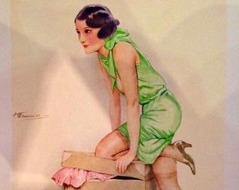 MEUNIER UNCIRCULATED 1929 Litho FRENCH Art Deco Travel Pinup Flapper UpSkirt, sheer seamed stockings Vintage 86+year great condition Pin-Up