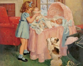 Large 20x20 canvas Sister has A NEW BABY Play Doll Puppy Fox Terrier Baby Shower 30s vintage nursery children Calendar Pinups New Mom