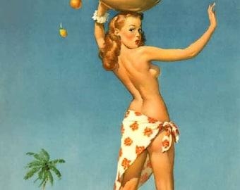 ELVGREN - TOPS Em ALL  Sarong Tropical Fruit Pin-Up Tiki Nude Deco Island Hula Hawaii Bahama Jamaica Vintage Calendar Travel Pinup