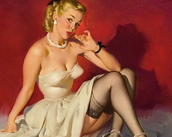 Sale 20x24 Canvas ELVGREN - YOUR MOVE  - Pinup - Romantic Flirting exposes garters, nylons, stockings, board games, checkers, Pin-Up