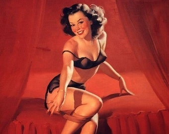 ELVGREN - I'm Not Shy - Pin-Up Burlesque Bedroom show  SEE THROUGH black lingerie Nylons Stockings Pinup Vintage
