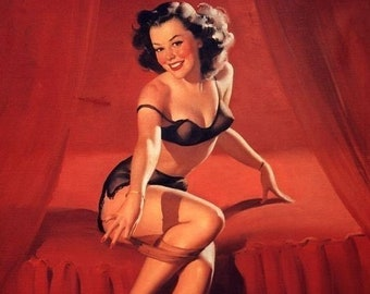 ELVGREN - I'm NOT SHY  - Pinup - Burlesque Lingerie Pin Up - Art Deco - Romantic in sheer bra panties garter belt stockings Signed print.