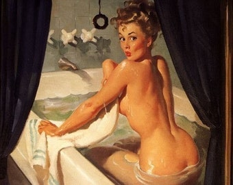 Sale ELVGREN - JEEPERS PEEPERS - Pin-Up Art Deco Bathroom Tub Calendar Pinup 1940's 12x18 Limited Edition