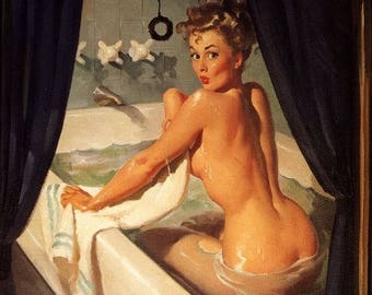 Super SALE Elvgren JEEPERS PEEPERS Original Painting Pin-Up Bath Nude by Vancas Tub BathRoom Midcentury Bubble Bath Pinup Vanguard Gallery