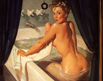 Sale! Gil ELVGREN JEEPERS PEEPERS Art Deco Bath Bathroom Nude 40's Art Deco Pin-Up Art Print Signed 8x11 Pinup Calendar Girl Vintage Vancas