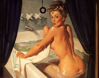 20x24 Sale  . ELVGREN . JEEPERS PEEPERS Canvas Giclee Bathroom Pin-Up BathTub, Midcentury Pinup Nude Bubble Bath
