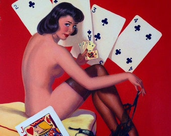 Estate Sale! Elvgren - STRIP POKER Original Painting 16X20 Rare 1998 Pinup Vancas Pin-Up Losing Cards Exposes Nylons Stockings Game Man Cave