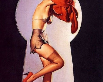 Gil ELVGREN  PEEK A View  Art Deco Pin-Up Lingerie, Stockings See Through Panties Bath Illustration Pinup - Giclee fine art limited edition