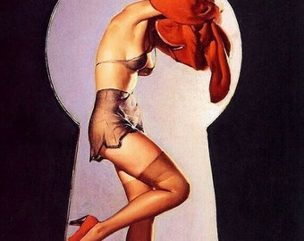 Gil Elvgren PEEK-A-VIEW Original Painting Pin-Up Redhead See Through Lingerie Legs Full Fashioned Stockings pinup garter panty DANIEL Vancas